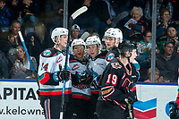 KELOWNA, BC - FEBRUARY 17: Ethan Ernst #19 of the Kelowna Rockets celebrates a second period goal with line mates against the Calgary Hitmen at Prospera Place on February 17, 2020 in Kelowna, Canada. (Photo by Marissa Baecker/Shoot the Breeze)