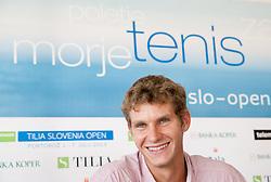 Blaz Rola during press conference of ATP Challenger Tilia Slovenia Open 2013, on June 20, 2013 in Hotel Metropol, Portoroz, Slovenia. (Photo By Vid Ponikvar / Sportida)