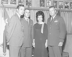 From left to right George H.W. Bush, George W. Bush, Mrs. Georgia Staudt, and Col. Walter B. 'Buck' Staudt, commander of the 147th Fighter Interceptor Group, Texas Air National Guard are shown in this undated handout photograph. (nk) 2004 Photo via Worth Star Telegram/KRT/ABACA