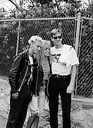Portrait of Martin Gore and Andy Fletcher of Depeche Mode, photographed at Pasadena Rose Bowl, June 1988.
