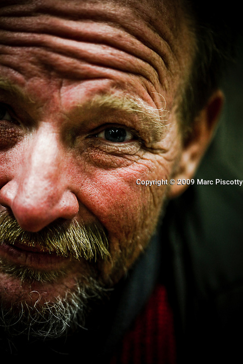 "SHOT 10/21/09 5:59:01 PM - Portraits of Rocky Mc aka ""Is-Real"", 57, at the Denver Rescue Mission who was living on the streets for about nine months currently and has been homeless a number of times in his life. He said, ""I never dreamed that I'd have to do what I'm doing right now"". He added that the streets can be a lonely and dangerous place at times. A recent survey by the Metro Denver Homeless Initiative estimates there are more than 11,000 homeless individuals in the seven county metro region and that numbers are up some 20 percent from 2007. (Photo by Marc Piscotty / © 2009)"