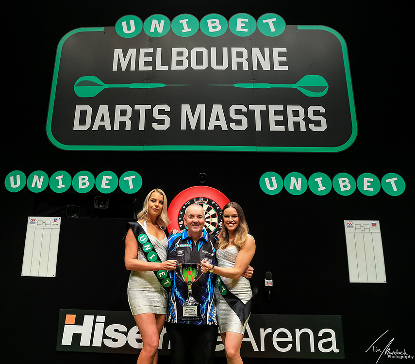 MELBOURNE, Australia - Sunday 20 August 2017:  Phil Taylor after taking out the Unibet Melbourne Dart Masters at Hisense Arena on Sunday 20 August 2017.<br /> <br /> Photo Credit: Tim Murdoch/Tim Murdoch Photography