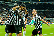 Ayoze Perez (#17) of Newcastle United celebrates Newcastle United's first goal (1-0) with Matt Ritchie (#11) of Newcastle United during the Premier League match between Newcastle United and Watford at St. James's Park, Newcastle, England on 3 November 2018.