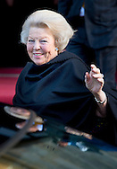 10-12-2014 AMSTERDAM -   Princess Beatrix Arrive at the Dam palace in Amsterdam for the Prince Claus prize 2014 COPYRIGHT ROBIN UTRECHT