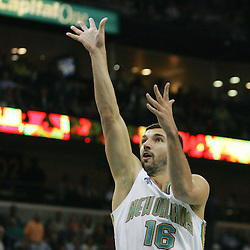 New Orleans Hornets forward Peja Stojakovic #16 shoots against the Utah Jazz in the first quarter of their NBA game on April 8, 2008 at the New Orleans Arena in New Orleans, Louisiana.