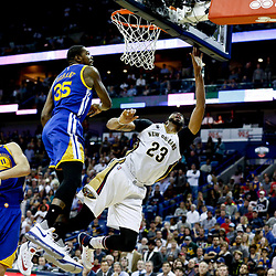 Dec 13, 2016; New Orleans, LA, USA;  Golden State Warriors forward Kevin Durant (35) blocks a shot by New Orleans Pelicans forward Anthony Davis (23) during the second half of a game at the Smoothie King Center. The Warriors defeated the Pelicans 113-109. Mandatory Credit: Derick E. Hingle-USA TODAY Sports
