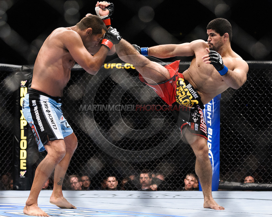 "ATLANTA, GEORGIA, SEPTEMBER 6, 2008: Dan Henderson (left) blocks a kick from Rousimar Palhares during ""UFC 88: Breakthrough"" inside Philips Arena in Atlanta, Georgia on September 6, 2008"