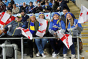 Eager England fans get ready for the Ladbrokes Four Nations match between England and Scotland at the Ricoh Arena, Coventry, England on 5 November 2016. Photo by Craig Galloway.