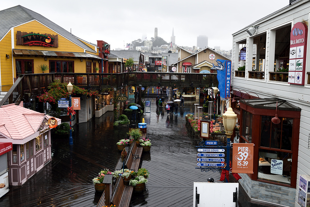 A general view of Pier 39 in San Francisco, California on November 16'th, 2017. Pier 39 is a shopping center and popular tourist attraction built on a pier in San Francisco, California. Photo by Gili Yaari