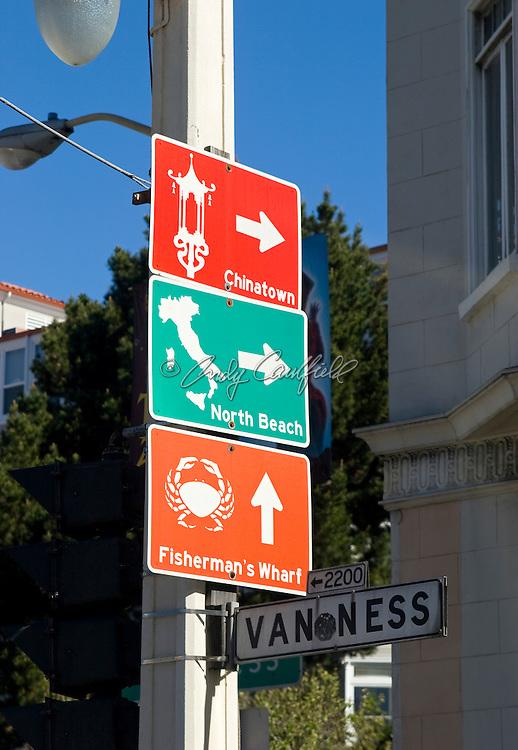 City district signs, San Francisco, CA
