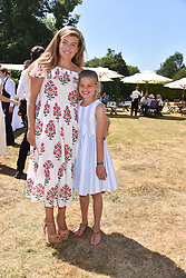 Amber Gosling and her step daughter Amelie Gosling at the 'Cartier Style et Luxe' enclosure during the Goodwood Festival of Speed, Goodwood House, West Sussex, England. 15 July 2018.