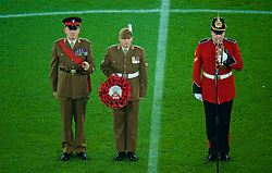 CARDIFF, WALES - Tuesday, November 14, 2017: Military men on the pitch for a minute silence before the international friendly match between Wales and Panama at the Cardiff City Stadium. (Pic by Peter Powell/Propaganda)