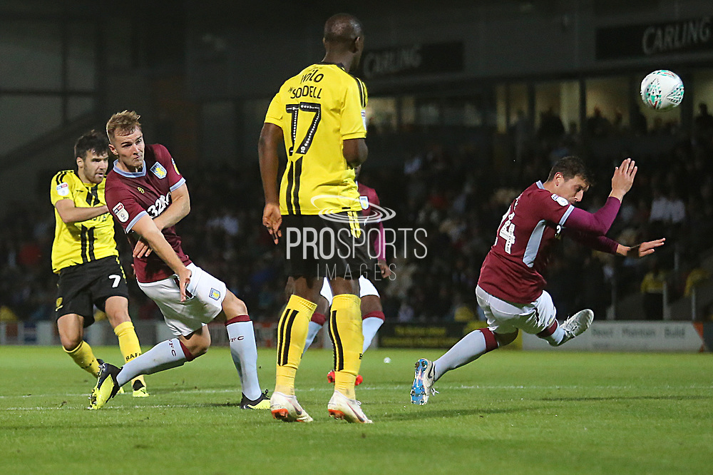 Burton Albion midfielder Scott Fraser (7) shoots at goal during the second round or the Carabao EFL Cup match between Burton Albion and Aston Villa at the Pirelli Stadium, Burton upon Trent, England on 28 August 2018.