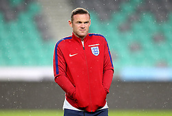 Wayne Rooney of England stands in the rain on arrival to SRC Stozice Stadium ahead of the World Cup Qualifier against Slovenia - Mandatory by-line: Robbie Stephenson/JMP - 10/10/2016 - FOOTBALL - SRC Stozice - Ljubljana, England - England Press Conference