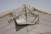 The flaps of a temporary tent in the 4 sq km Abu Shouk refugee camp which is (disputedly) home to 38,000 displaced persons, on the outskirts of Al Fasher, North Darfur. Sudan.