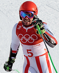 18.02.2018, Yongpyong Alpine Centre, Pyeongchang, KOR, PyeongChang 2018, Ski Alpin, Herren, Riesenslalom, 2. Durchgang, im Bild Marcel Hirscher (AUT, 1. Platz) // gold medalist and Olympic champion Marcel Hirscher of Austria reacts after men's Alpine Giant Slalom Race of the Pyeongchang 2018 Winter Olympic Games at the Yongpyong Alpine Centre in Pyeongchang, South Korea on 2018/02/18. EXPA Pictures © 2018, PhotoCredit: EXPA/ Johann Groder