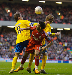 LIVERPOOL, ENGLAND - Saturday, January 26, 2008: Liverpool's Jermaine Pennant and Havant and Waterlooville's Alfie Potter (R) and Jamie Collins (L) during the FA Cup 4th Round match at Anfield. (Photo by David Rawcliffe/Propaganda)