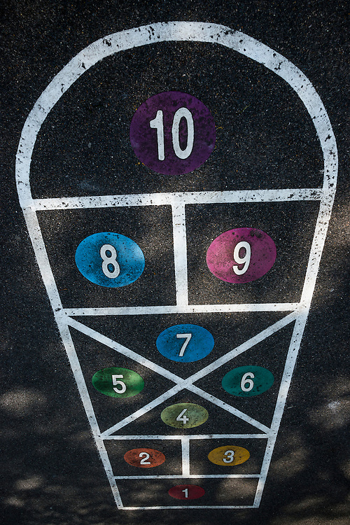 Playground numbers on Hop Scotch Grid in a London School Yard