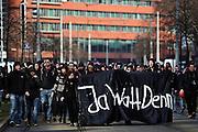 Frankfurt am Main | 18 Mar 2015<br /> <br /> Blockupy-Proteste in Frankfurt am 18.03.2015, hier: Am Mittag versuchen Demonstranten mit einem Transparent mit der Aufschrift &quot;Ja Watt Denn&quot; auf die Zeil vorzudringen, werden daran aber von Polizisten gehindert.<br /> <br /> photo &copy; peter-juelich.com