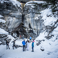 The Maligne Canyon Icewalk in Jasper, Alberta, Canada.<br />
