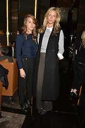Left to right, ALESSANDRA BALAZS and OLIVIA HUNT at a party to celebrate Stuart Semple as artist in residence at The Bulgari Hotel held at Il Bar, Bulgari Hotel, 171 Knightsbridge, London on 14th October 2015.