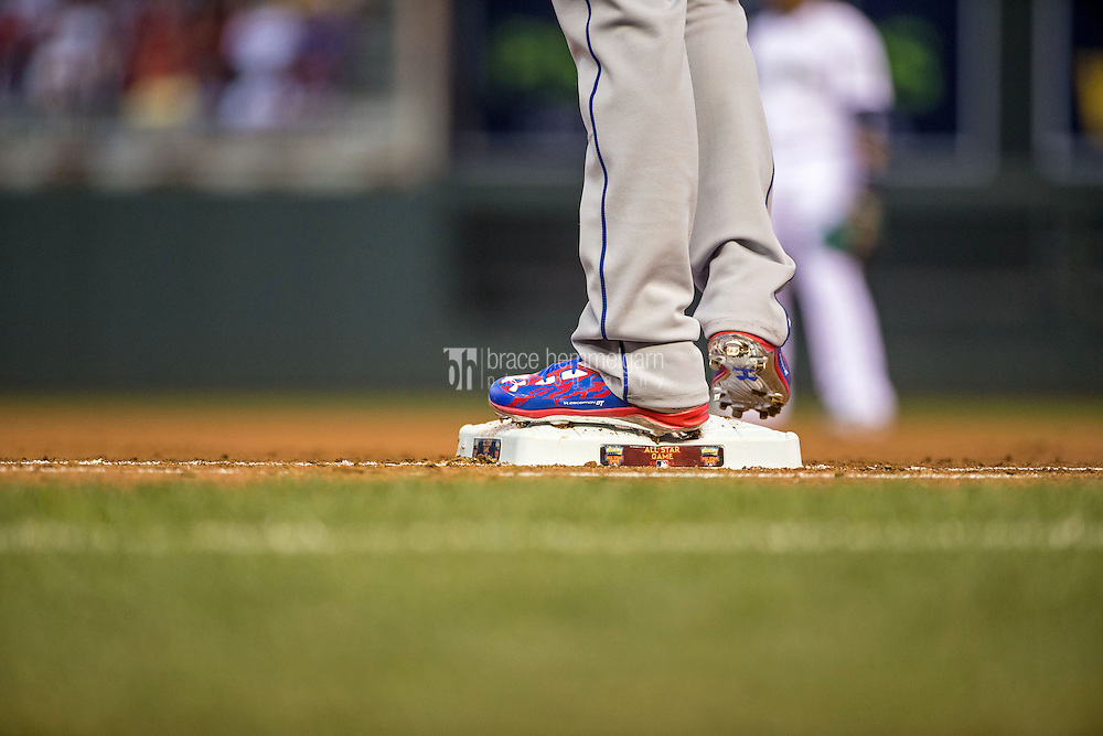 MINNEAPOLIS, MN- JULY 15: A pair of Under Armour cleats worn by National League All-Star Dee Gordon #9 of the Los Angeles Dodgers during the 85th MLB All-Star Game at Target Field on July 15, 2014 in Minneapolis, Minnesota. (Photo by Brace Hemmelgarn) *** Local Caption ***
