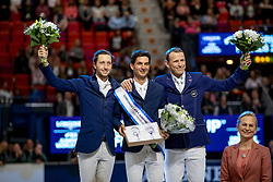 FUCHS Martin (SUI), GUERDAT Steve (SUI), FREDRICSON Peder (SWE)<br /> Göteborg - Gothenburg Horse Show 2019 <br /> Longines FEI World Cup™ Jumping Final III - Prix giving ceremony<br /> Int. jumping competition over two rounds not against the clock with jump-off in case of point egality (1.50 - 1.60 m)<br /> Longines FEI Jumping World Cup™ Final and FEI Dressage World Cup™ Final<br /> 07. April 2019<br /> © www.sportfotos-lafrentz.de/Stefan Lafrentz