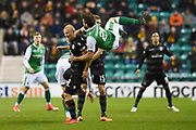 Darren McGregor swings into action on Curtis Main during the Ladbrokes Scottish Premiership match between Hibernian and Motherwell at Easter Road, Edinburgh, Scotland on 31 January 2018. Picture by Kevin Murray.