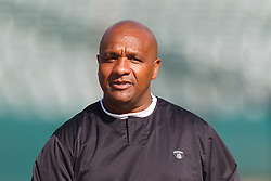 Oct 2, 2011; Oakland, CA, USA; Oakland Raiders head coach Hue Jackson on the sidelines before the game between the Oakland Raiders and the New England Patriots at O.co Coliseum. New England defeated Oakland 31-19. Mandatory Credit: Jason O. Watson-US PRESSWIRE