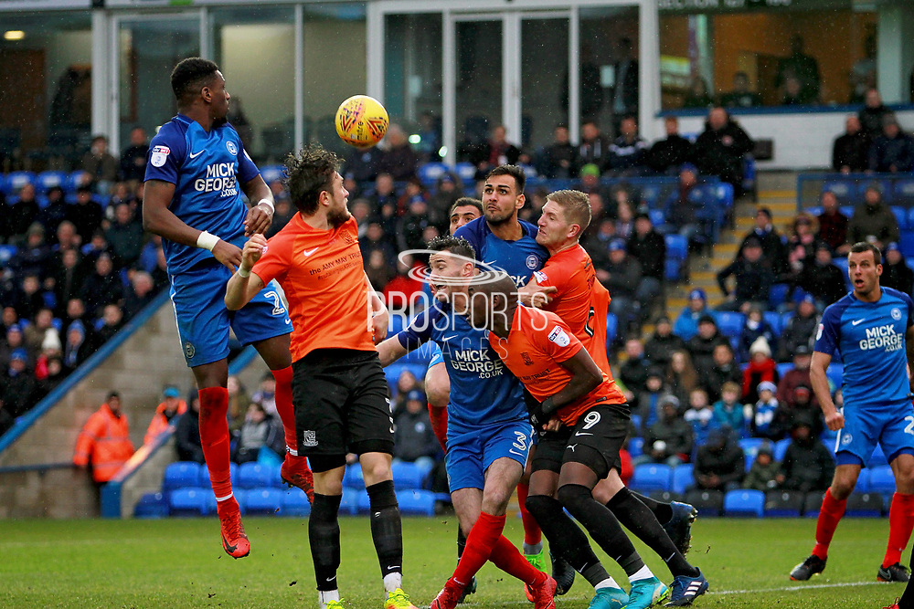 Peterborough United forward Omar Bogle (26) with a header during the EFL Sky Bet League 1 match between Peterborough United and Southend United at London Road, Peterborough, England on 3 February 2018. Picture by Nigel Cole.