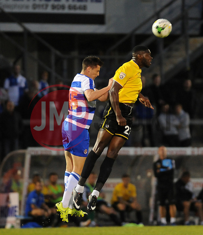 Nathan Blissett of Bristol Rovers is challenged by Reading's Dominic Hyam - Mandatory by-line: Neil Brookman/JMP - 21/07/2015 - SPORT - FOOTBALL - Bristol,England - Memorial Stadium - Bristol Rovers v Reading - Pre-Season Friendly