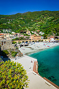 The beach at Monterosso al Mare, Cinque Terre, Liguria, Italy