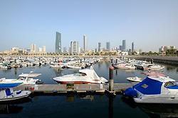 Skyline of Kuwait City from Souq Sharq marina in Kuwait