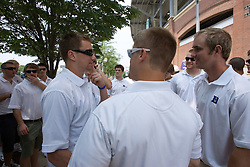 27 May 2007: Duke Blue Devils attackman Matt Danowski (40), defenseman Nick O'Hara (77) and defenseman Tom Clute (17) wait to enter the stadium to sign autographs at M&T Bank Stadium in Baltimore, MD.
