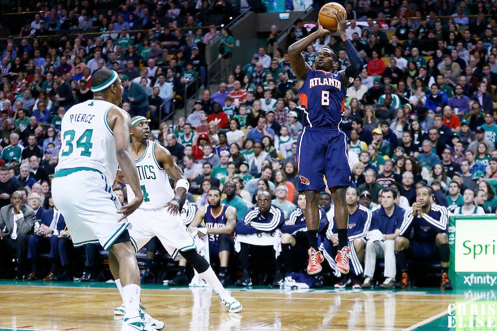 29 March 2013: Atlanta Hawks point guard Shelvin Mack (8) takes a jumpshot during the Boston Celtics 118-107 victory over the Atlanta Hawks at the TD Garden, Boston, Massachusetts, USA.
