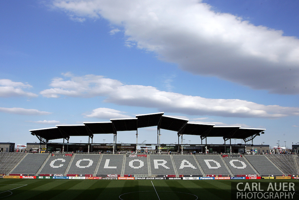 May 4th, 2013 Commerce City, CO - Before the gates open to let fans in for the MLS match between the Toronto FC and the Colorado Rapids you can clearly see the name Colorado spelled out with white seats in the stands at Dick's Sporting Goods Park in Commerce City, CO