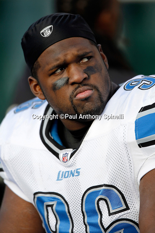 Detroit Lions defensive tackle Andre Fluellen (96) looks on during the NFL week 15 football game against the Oakland Raiders on Sunday, December 18, 2011 in Oakland, California. The Lions won the game 28-27. ©Paul Anthony Spinelli