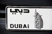 Burj Al Arab, the World's most luxurious hotel, on a license plate?like on many other cars in Dubai.