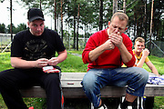 Inmates are smoking a cigarette in one of the open areas of the luxurious Halden Fengsel, (prison) near Oslo, Norway.