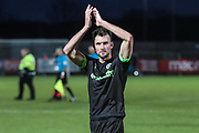 Forest Green Rovers Christian Doidge(9) applauds the fans at the end of the match during the EFL Sky Bet League 2 match between Stevenage and Forest Green Rovers at the Lamex Stadium, Stevenage, England on 26 January 2019.