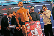 Kell Brook steps on the scales during the Kell Brook vs Mark DeLuca Weigh-In at the Millennium Gallery, Arundel Gate, Sheffield, United Kingdom on 7 February 2020.
