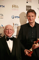 Actor Liam Neeson and <br /> The President of Ireland, Michael D Higgins at the IFTA Film &amp; Drama Awards (The Irish Film &amp; Television Academy) at the Mansion House in Dublin, Ireland, Saturday 9th April 2016. Photographer: Doreen Kennedy