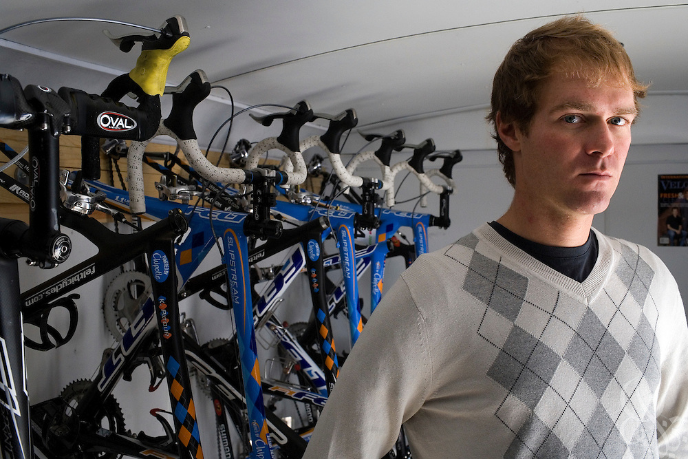 Garmin-Chipotle team cyclist Will Frischkorn poses for a portrait in Boulder, Colorado November 22, 2008. Frischkorn and the Garmin-Chipotle team are at the forefront of a new effort within the professional cycling world to establish strict new anti-doping/drug standards.  The team not only tests its riders for drugs, but has established biological profiles of team members that can be more easily monitored for changes that would indicate the use of illegal performance enhancing drugs or blood doping techniques.