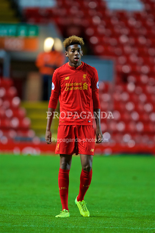 LIVERPOOL, ENGLAND - Monday, January 16, 2017: Liverpool's Kane Lewis in action against Manchester United during the FA Premier League 2 Division 1 Under-23 match at Anfield. (Pic by David Rawcliffe/Propaganda)