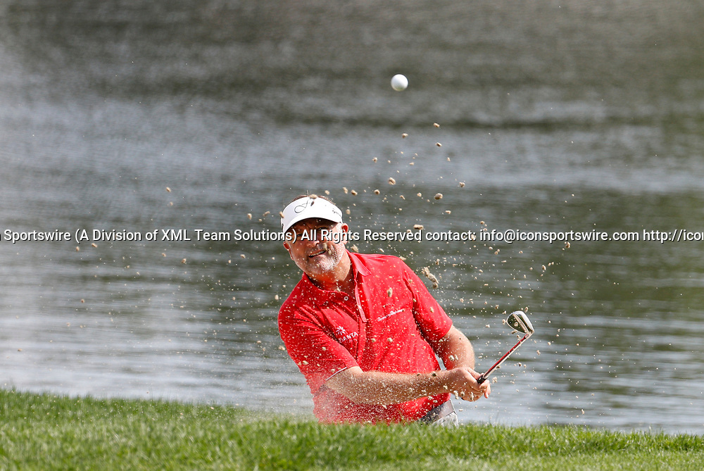 CROMWELL, CT - JUNE 23: Ken Duke hits from the bunker on 16 during the second round of the Travelers Championship on June 23, 2017, at TPC River Highlands in Cromwell, Connecticut. (Photo by Fred Kfoury III/Icon Sportswire)