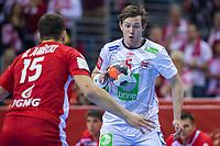 BILDET INNGÅR IKKE I FASTAVTALER. ALL NEDLASTING BLIR FAKTURERT.<br /> <br /> Håndball<br /> EM 2016<br /> Polen v Norge<br /> 23.01.2016<br /> Foto: imago/Digitalsport<br /> NORWAY ONLY<br /> <br /> 23.01.2016, Krakow, EHF EURO 2016 , European Handball Federation EURO 2016 , Poland - Norway,  Sander Sagosen (NOR), Michal Jurecki (POL),