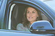 Queen Letizia of Spain arrive at the 'Santa Maria de los Rosales' school on the first day of schoo on September 11, 2019 in Madrid, Spain