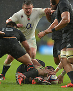 Twickenham, Great Britain, England's David WILSON, looking to get the ball from Sam WHITELOCK, grounded during the QBE Autumn International, England vs New Zealand, RFU Stadium Twickenham, Surrey.  Saturday 08/11/2014 [Mandatory Credit; Peter SPURRIER/Intersport Images]