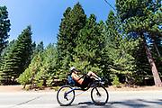 Jennifer Breet rijdt een trainingsrit tijdens de acclimatisatie periode in Peninsula, Californie. Het Human Power Team Delft en Amsterdam, dat bestaat uit studenten van de TU Delft en de VU Amsterdam, is in Amerika om tijdens de World Human Powered Speed Challenge in Nevada een poging te doen het wereldrecord snelfietsen voor vrouwen te verbreken met de VeloX 8, een gestroomlijnde ligfiets. Het record is met 121,81 km/h sinds 2010 in handen van de Francaise Barbara Buatois. De Canadees Todd Reichert is de snelste man met 144,17 km/h sinds 2016.<br /> <br /> With the VeloX 8, a special recumbent bike, the Human Power Team Delft and Amsterdam, consisting of students of the TU Delft and the VU Amsterdam, wants to set a new woman's world record cycling in September at the World Human Powered Speed Challenge in Nevada. The current speed record is 121,81 km/h, set in 2010 by Barbara Buatois. The fastest man is Todd Reichert with 144,17 km/h.