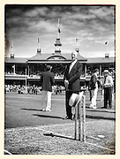 Former Australian captain and ch9 Cricket commentator Bill Lawry stands beside the pitch during a tribute to Tony Greig. Tony Greig signature wide brim hat was placed on the stumps before play of the test match between Australia Vs Sri Lanka at the Sydney Cricket ground.